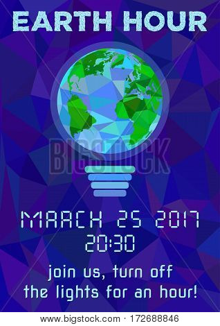 Earth Hour - global annual international event. Planet Earth as bulb on background of night starry blue sky in polygonal style. Vector illustration