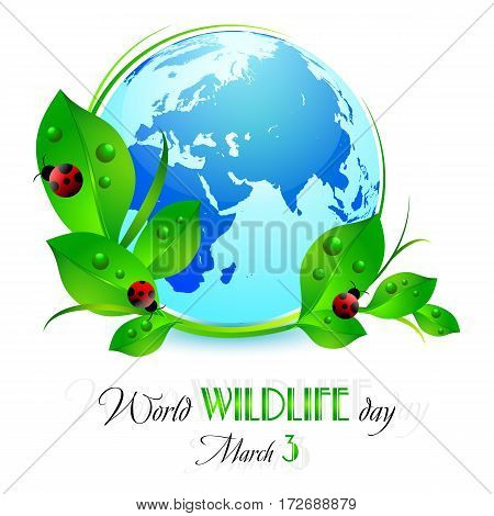 Earth globe with green leaves and red ladybugs on white. World wild life day in March 3. Also suitable for Earth day and Hour. Vector illustration