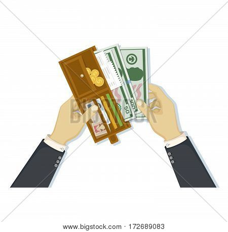 Open wallet with cash money and credit cards, gold coins, checks, driver's license in man hands isolated on white background. Businessman putting cash dollars. Payment concept. Vector in flat design