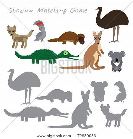 Australian animals dingo emu parrot crocodile koala kangaroo platypus isolated on white background, Shadow Matching Game for Preschool Children. Find the correct shadow. Vector illustration