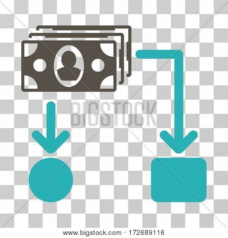Cashflow icon. Vector illustration style is flat iconic bicolor symbol grey and cyan colors transparent background. Designed for web and software interfaces.