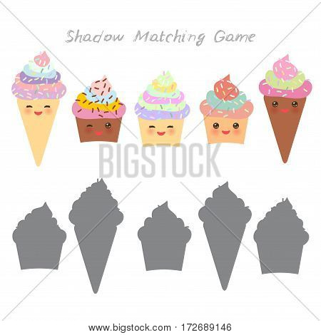 cupcakes and ice cream cone isolated on white background, Shadow Matching Game for Preschool Children. Find the correct shadow. Vector illustration