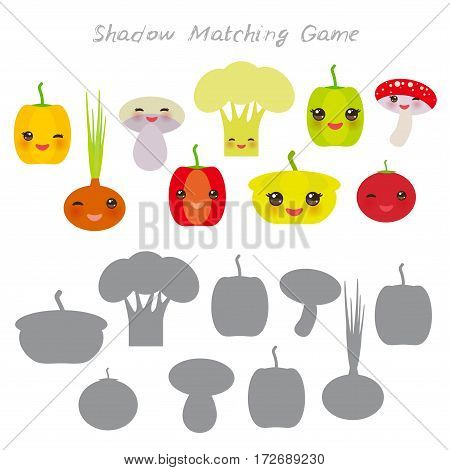 peppers onions mushrooms squash tomato cauliflower isolated on white background, Shadow Matching Game for Preschool Children. Find the correct shadow. Vector illustration