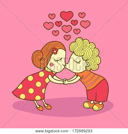 Kissing girl and boy isolated on pink background. Valentine lovers. Kissing couple. Vector illustration of a cute kiss