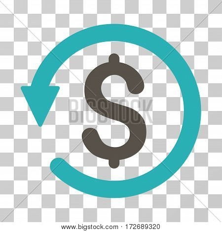 Chargeback icon. Vector illustration style is flat iconic bicolor symbol grey and cyan colors transparent background. Designed for web and software interfaces.