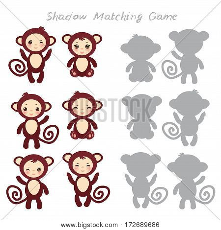 Set of funny brown monkey isolated on white background, Shadow Matching Game for Preschool Children. Find the correct shadow. Vector illustration