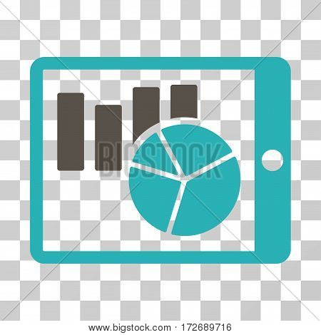 Charts On PDA icon. Vector illustration style is flat iconic bicolor symbol grey and cyan colors transparent background. Designed for web and software interfaces.