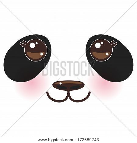 Kawaii funny panda white muzzle with pink cheeks and big black eyes  on white background. Vector illustration
