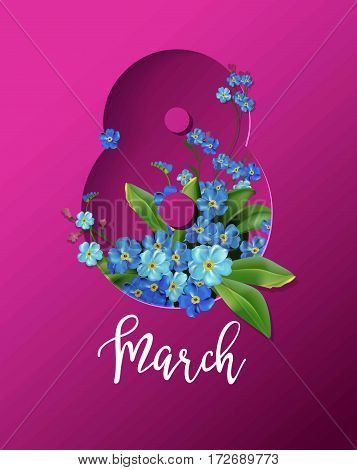 Women Day holiday or springtime vector illustration. 8 March greeting card with blue flowers bouquet in shape of number eight.