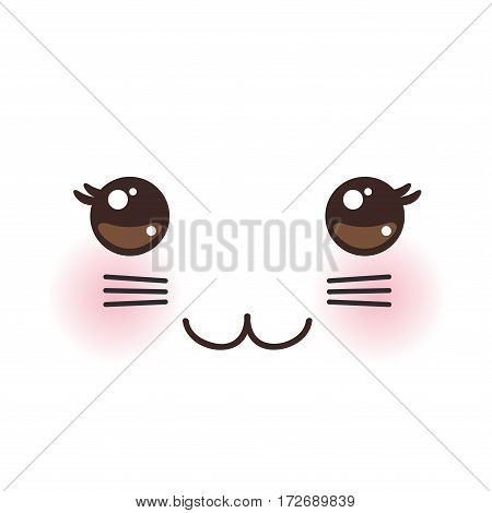 Kawaii funny cat muzzle with pink cheeks and big black eyes on white background. Vector illustration