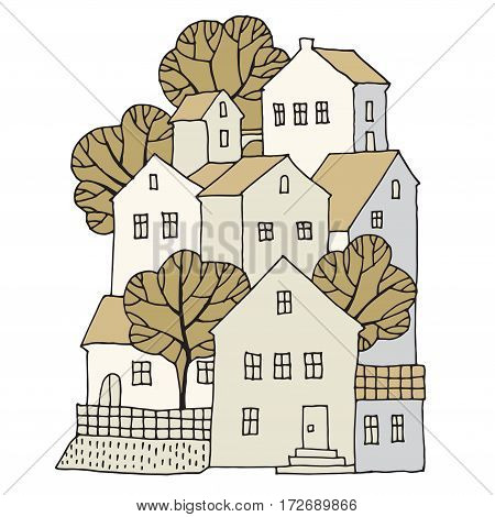 Cartoon hand drawing houses color vector illustration