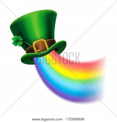 St. Patrick's Day green leprechaun hat with clover and rainbow St.Patrick's Day symbol. St.Patrick's Day background. Vector illustration