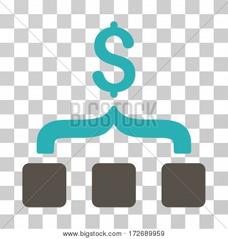 Collect Money icon. Vector illustration style is flat iconic bicolor symbol grey and cyan colors transparent background. Designed for web and software interfaces.
