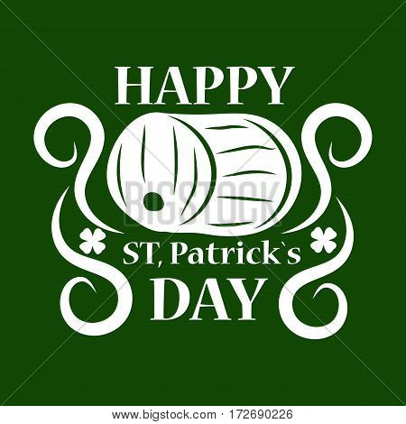 Irish holiday traditional logo design element for vector greeting card or celebration feast text template. Saint Patrick day symbol of green ale beer pub barrel.