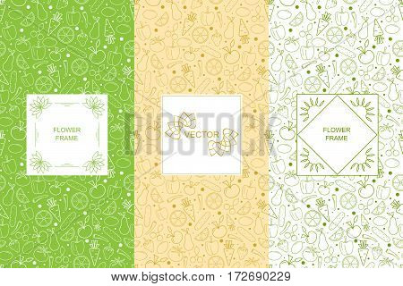 Vitamins seamless pattern. Vegetables and fruits. Vegan green linear background. The concept of organic food and vegetarian. The template and the label for healthy. Vector illustration.