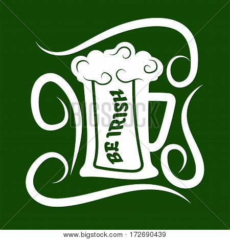 Irish holiday traditional logo design element for vector greeting card or celebration feast text template. Saint Patrick day symbol of green ale beer mug.