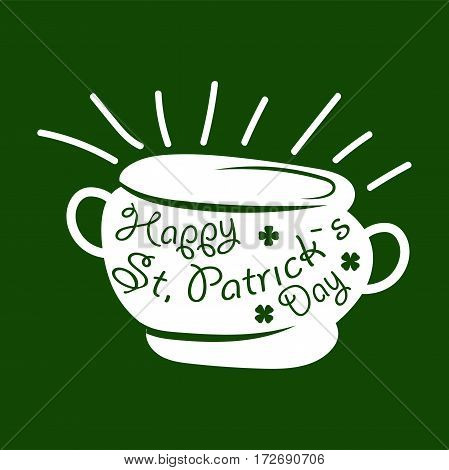 Irish holiday traditional logo design element for vector greeting card text template. Saint Patrick day symbol of Leprechaun treasure pot and four-leaf clover leaf or lucky shamrock.