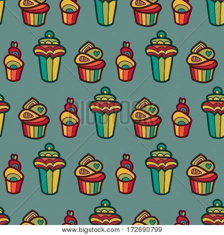 Sweet vector seamless pattern with cupcakes. Cute endless background in gentle colors. Cake background. Cake vector. Cake isolated. Cake dessert.