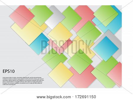 Vector abstract squares background illustration. Used for workflow layout, diagram, banner, web design. Vector eps 10