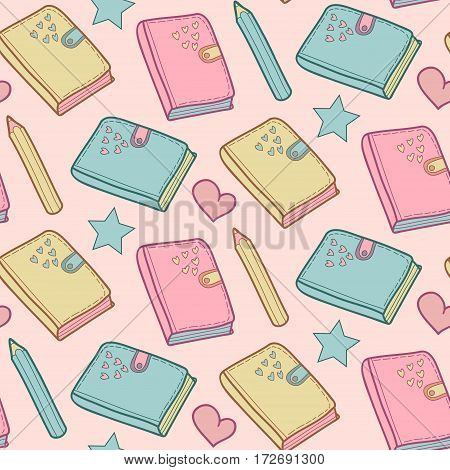 Cute childish vector seamless pattern with star, heart, notebook and alarm clock. School elements background