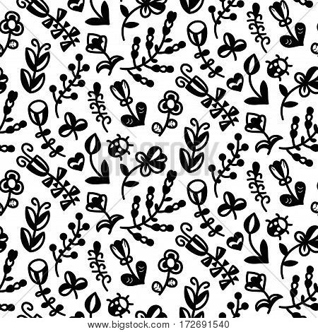Floral seamless pattern in vector. Spring endless background with flower, branch, heart, leaf, butterfly