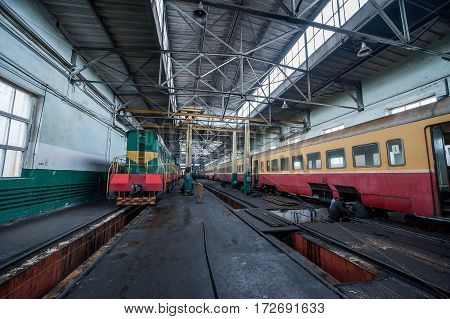 Old train on a railway depot in
