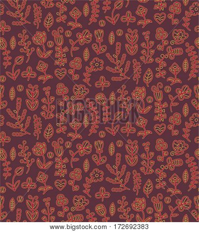 Floral seamless pattern in vector. Spring endless background with flower, branch, heart, leaf, butterfly in gentle colors