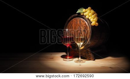 Glass Of Red , White Wine And Barrel On Wooden Table
