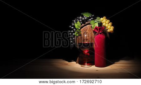 Glass Of Wine And Barrel On Wooden Table