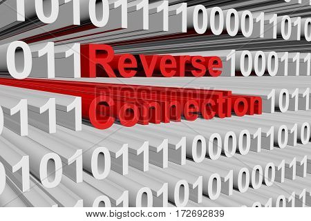 reverse connection in the form of binary code, 3D illustration