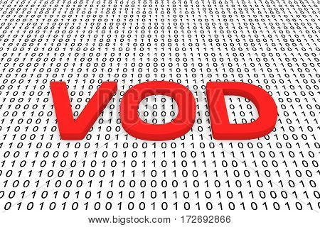 vod in the form of binary code, 3D illustration
