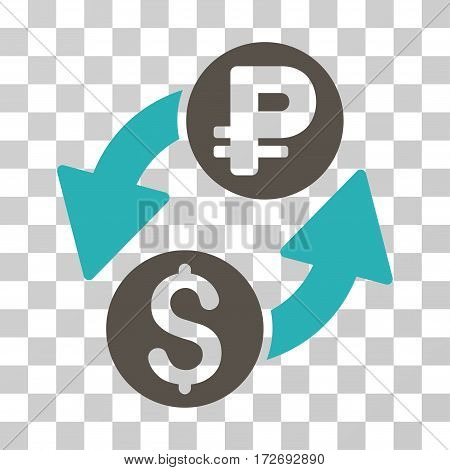 Dollar Rouble Exchange icon. Vector illustration style is flat iconic bicolor symbol grey and cyan colors transparent background. Designed for web and software interfaces.
