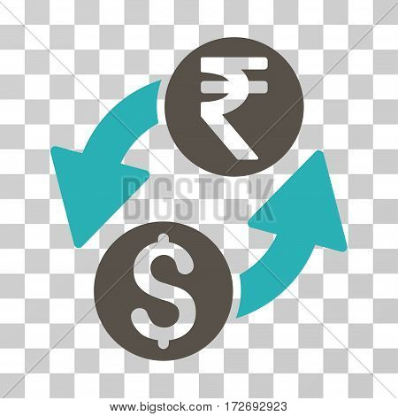Dollar Rupee Exchange icon. Vector illustration style is flat iconic bicolor symbol grey and cyan colors transparent background. Designed for web and software interfaces.