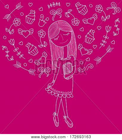 Vector illustration of a beautiful fashion girl in cute dress with bag. Glamorous lady on purpie background