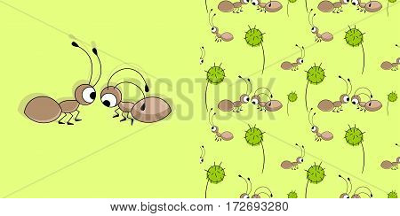 Cute ants. Vector illustration. And seamless pattern with ants and dandelions.