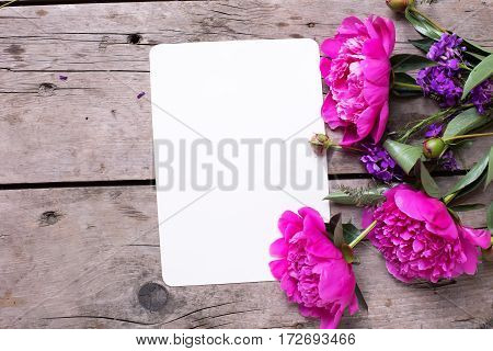 Pink peonies flowers and empty tag on aged wooden background. Flat lay. Top view with copy space. Selective focus.