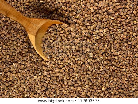 Buckwheat with wooden spoon delicious and natural