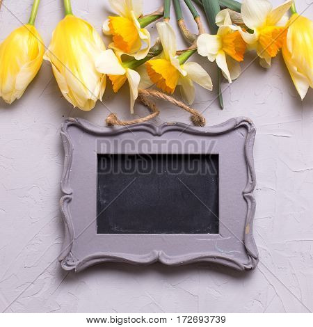 Yellow flowers and empty frame for text on grey textured background. Selective focus. Place for text. Square image.