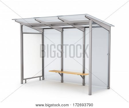 Bus stop billboard - 3d illustration, isolated on white background .