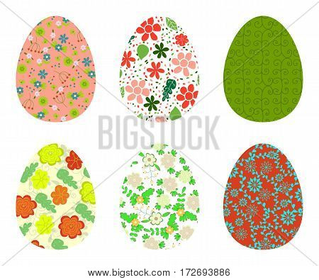 Set Of Colorful Eggs Decorated With Floral Patterns. Collection Of Easter Symbols Isolated On White