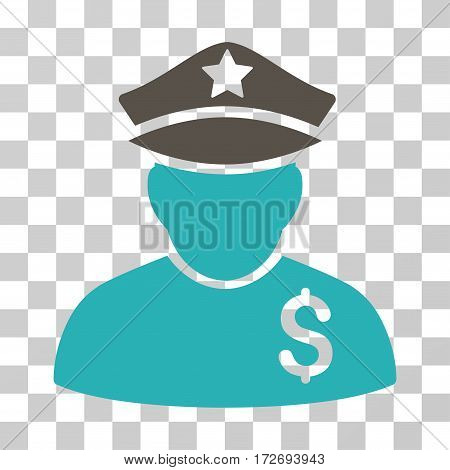 Financial Policeman icon. Vector illustration style is flat iconic bicolor symbol grey and cyan colors transparent background. Designed for web and software interfaces.