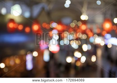 Blurred background of shopping center with bokeh