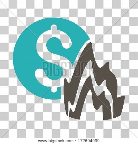 Fire Disaster Price icon. Vector illustration style is flat iconic bicolor symbol grey and cyan colors transparent background. Designed for web and software interfaces.