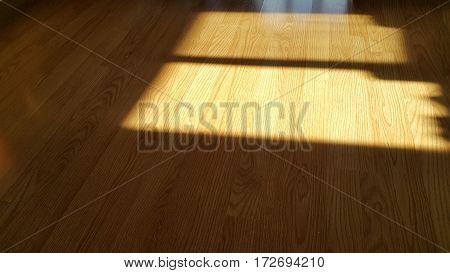 Sun light shine on the wooden floor.