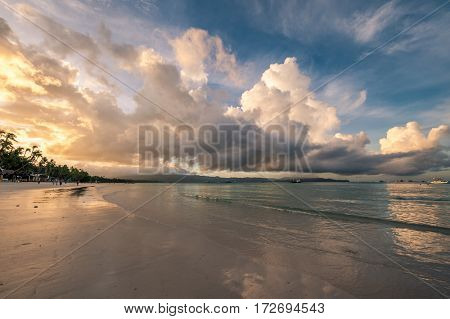 Beautiful sunrise at Boracay beach at Philippines