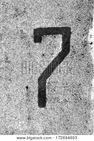 Number Seven On Grey Cement Wall.