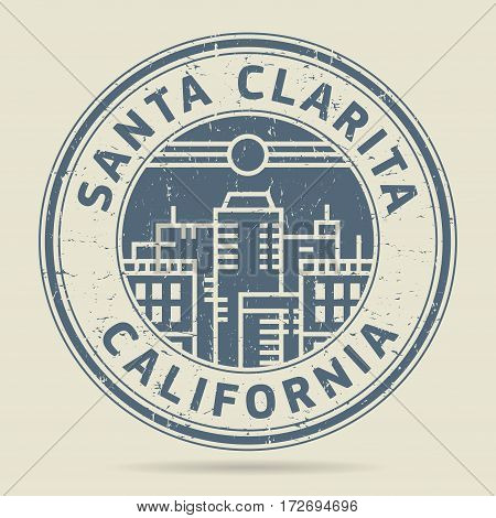 Grunge rubber stamp or label with text Santa Clarita California written inside vector illustration