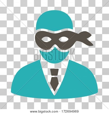 Masked Thief icon. Vector illustration style is flat iconic bicolor symbol grey and cyan colors transparent background. Designed for web and software interfaces.