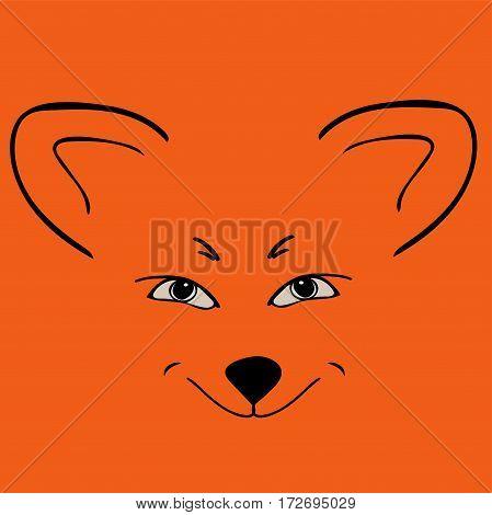 Fox red head animal Sly eyes. Vector illustration.