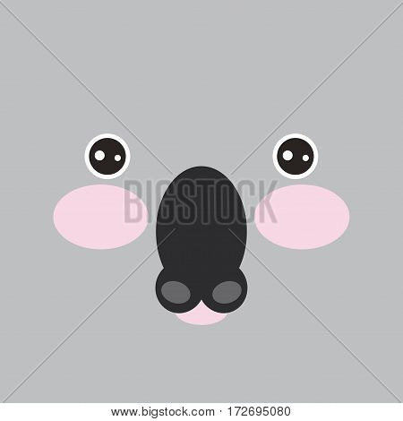Kawaii cute cartoon koal muzzle with pink cheeks on gray background. Vector illustration